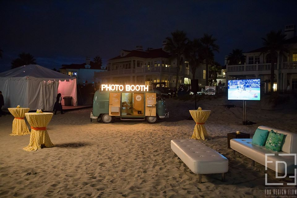 mobile event photo booth rental wagon on beach