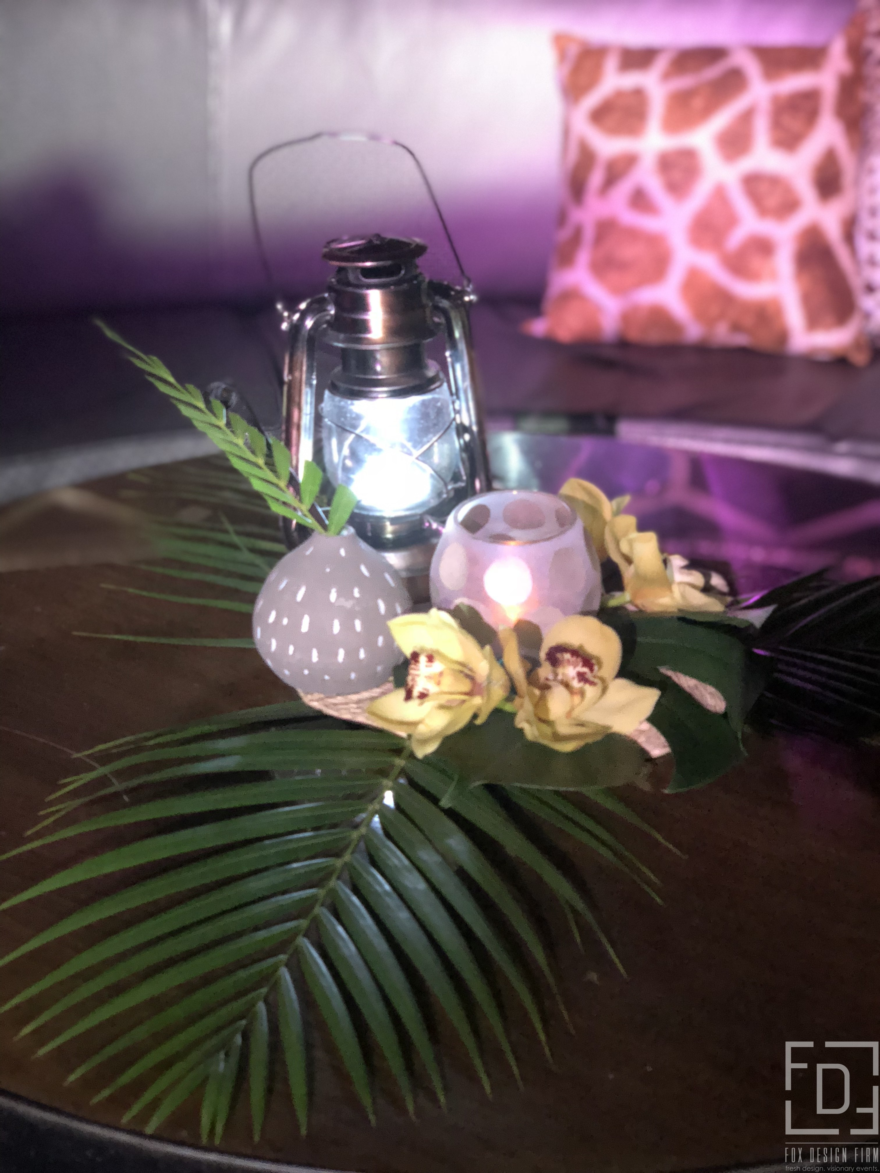 tropical centerpiece event design