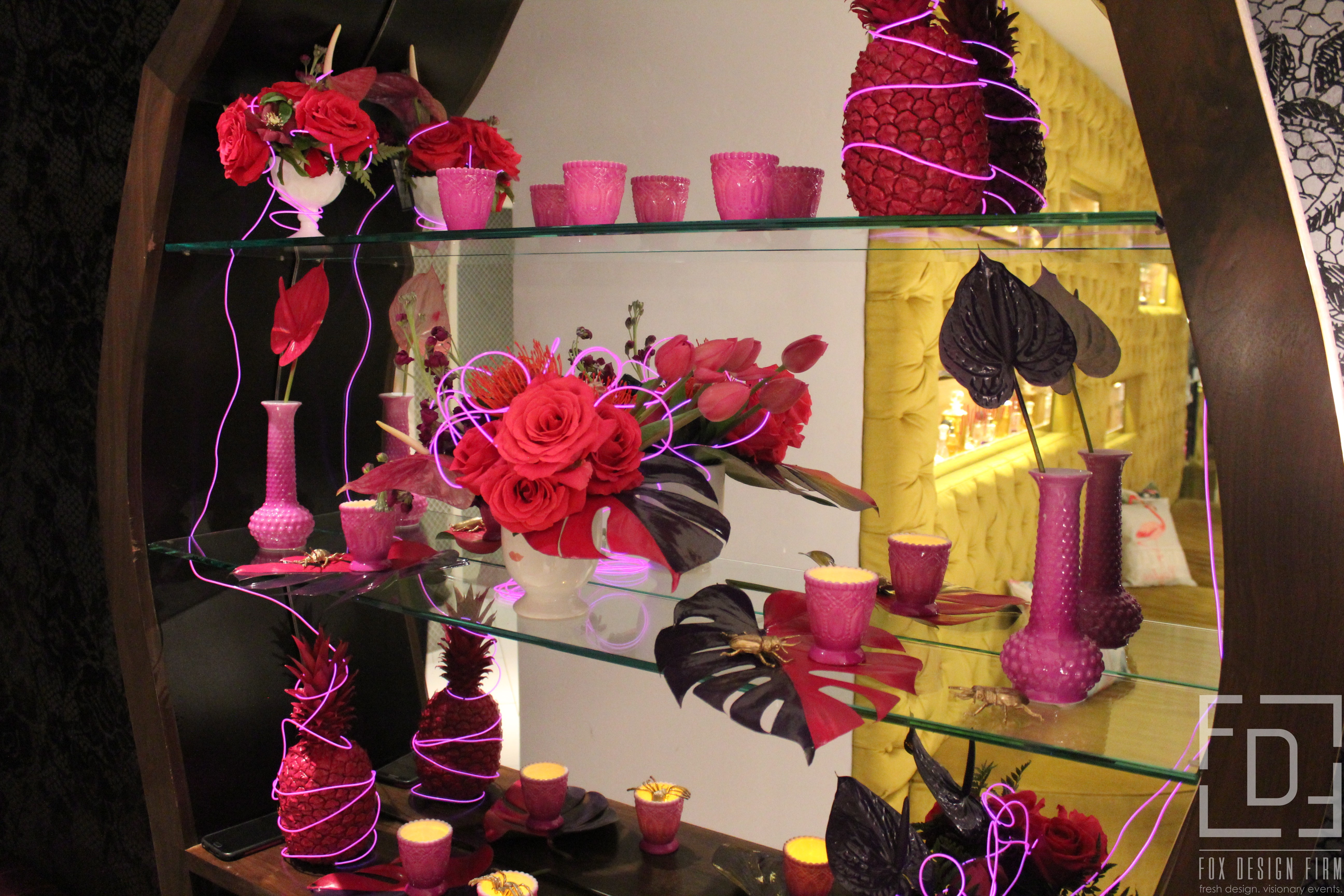 event design pink and black flowers